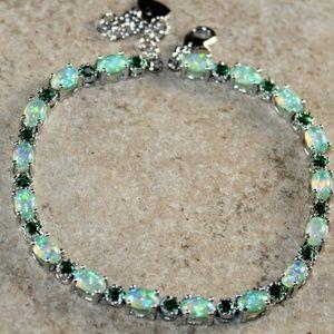 Jewelry - Green  Fire Opal Oval Silver Bracelet